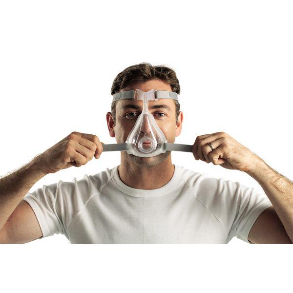 Masque facial CPAP Quattro Air Resmed - installation homme - Promédic senc Joliette